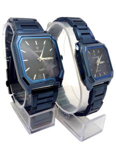 Longbo Combo Of Stainless Black Dial Couple Watch For Men & Women