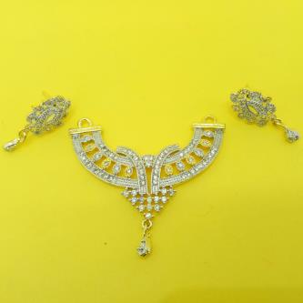 Devi American Diamond Mangalsutra Pendant with Earrings For Women