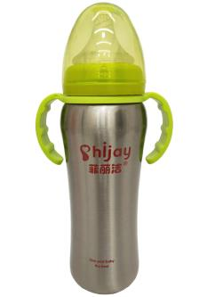 Royal 100 Stainless Steel Feeding Bottle with Twin Handles For Baby Kids(240ML)