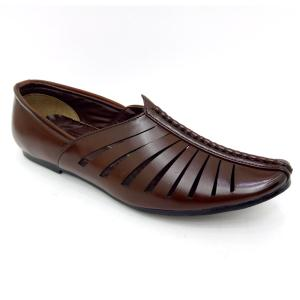 Fiction Handcrafted Brown Mojaris For Men