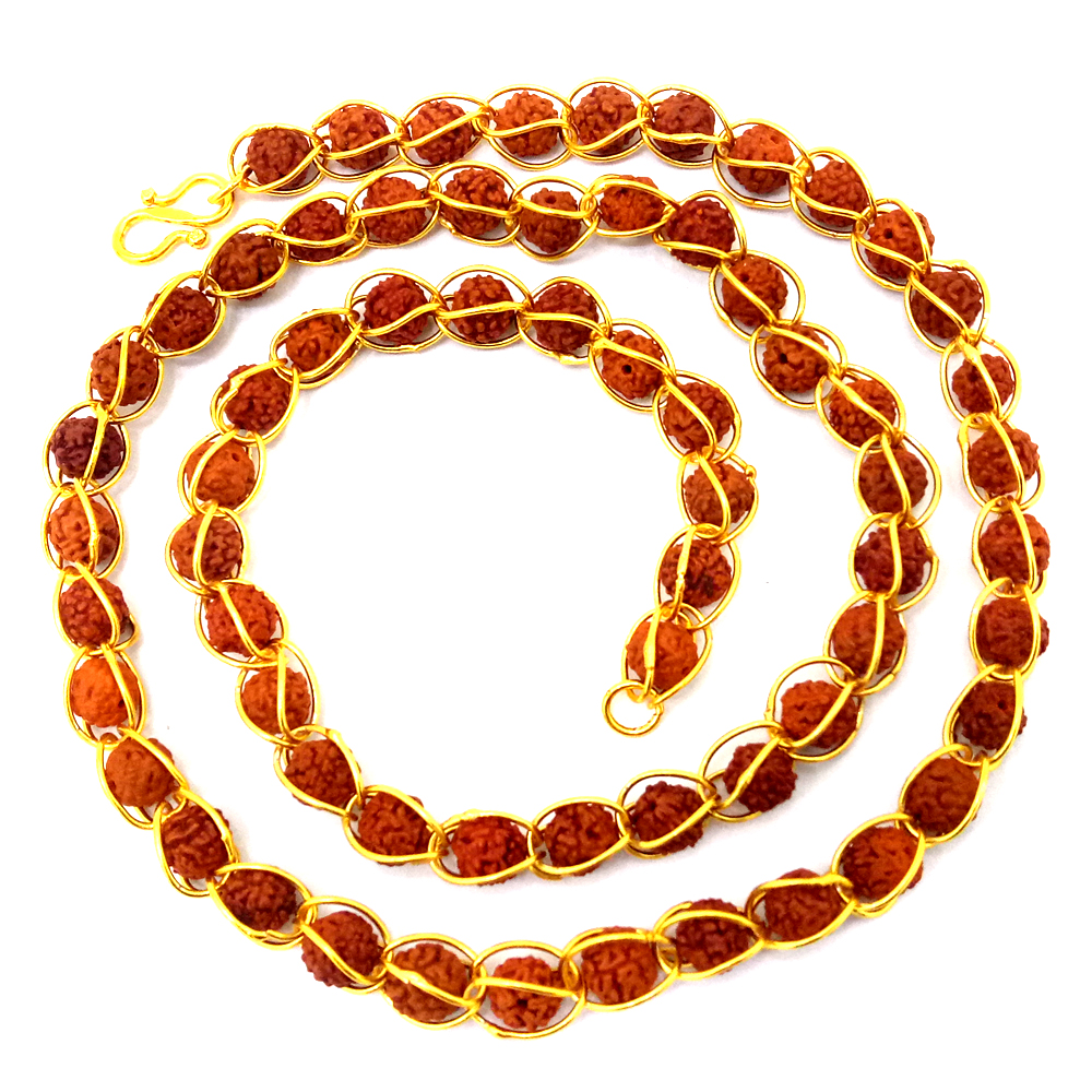 12a9e835a956f Devi Rudraksha Studded Chain In Gold Toned For Men