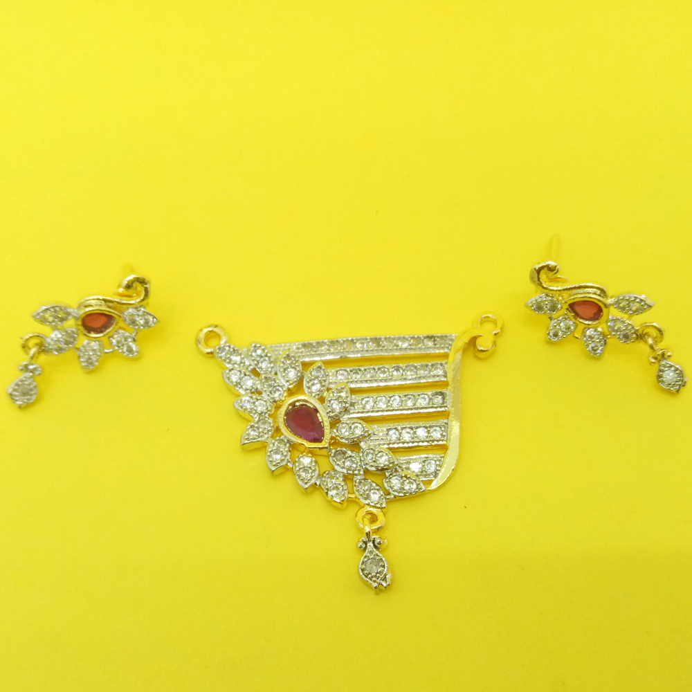 Devi American Diamond Mangalsutra Pendant with Earrings For Women